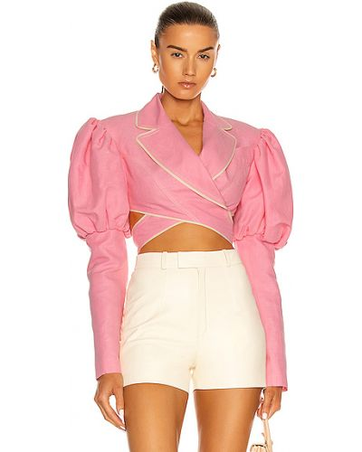 Różowa kurtka bawełniana kopertowa Marianna Senchina
