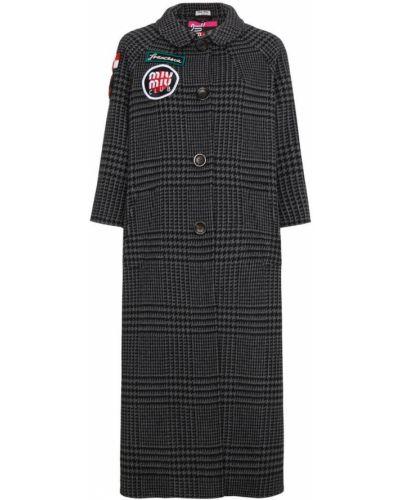 Пальто с вышивкой шерстяное с вышивкой Miu Miu