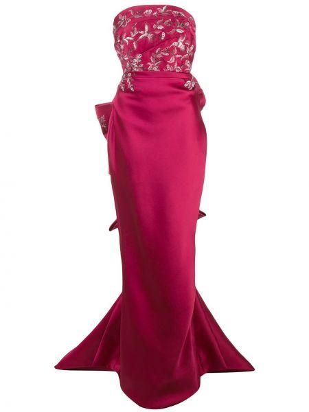 Розовое шелковое платье с вышивкой Marchesa