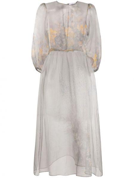 Шелковое серое расклешенное платье мини с вырезом Soulland