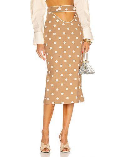 Beżowa spódnica ołówkowa w grochy bawełniana Marianna Senchina