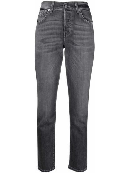 Хлопковые серые укороченные джинсы стрейч 7 For All Mankind