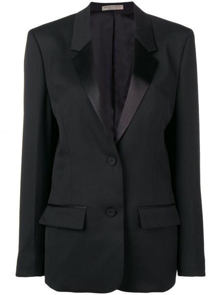 Шерстяной черный пиджак с карманами Bottega Veneta