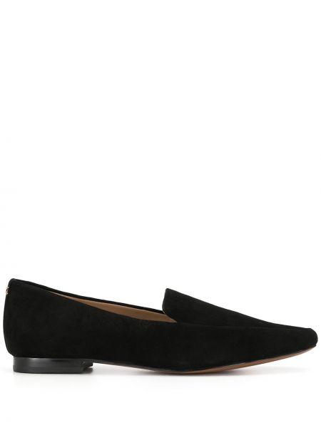 Skórzany czarny loafers na pięcie z ostrym nosem Sam Edelman