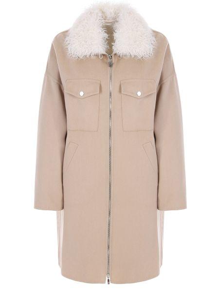 Теплое пуховое бежевое пальто с воротником Moncler Gamme Rouge