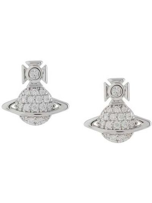Серебряные серьги со стразами металлические Vivienne Westwood