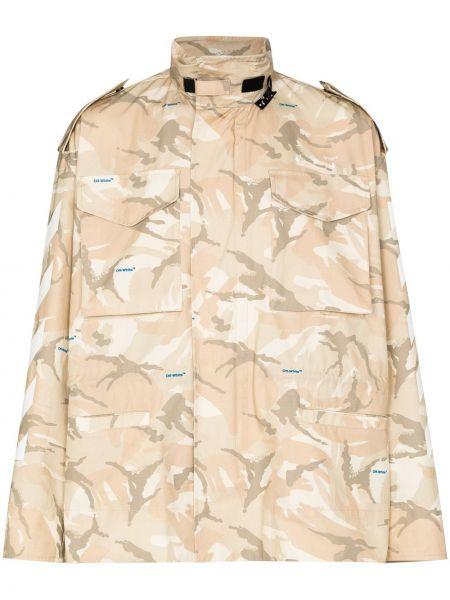 Beżowy bawełna bawełna długa kurtka z długimi rękawami Off-white
