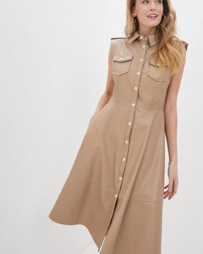 Кожаное бежевое платье Lusio