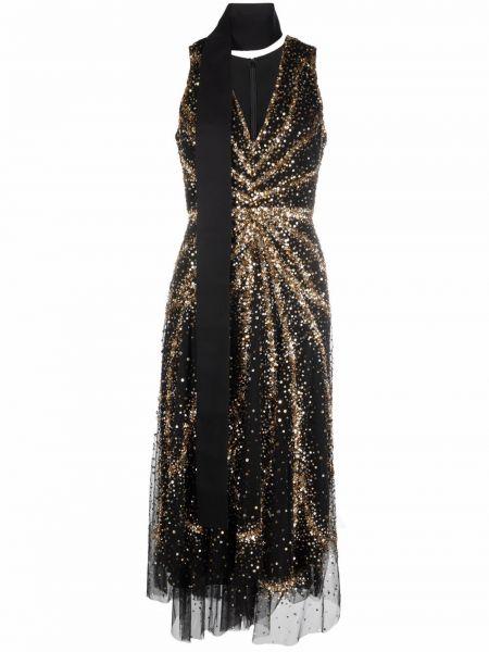 Шелковое платье миди - черное Elie Saab