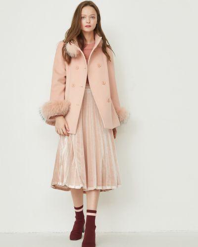 Шерстяное пальто - розовое Only