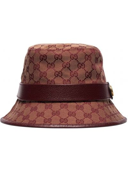 Kapelusz fedora skórzany brezentowy Gucci