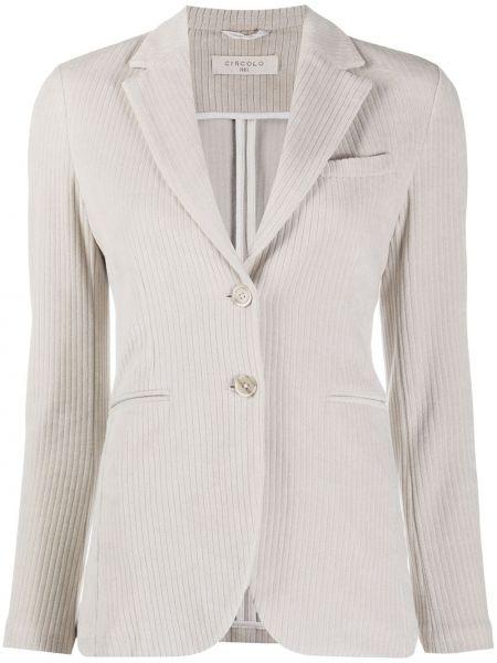 Серый приталенный классический пиджак с карманами с лацканами Circolo 1901