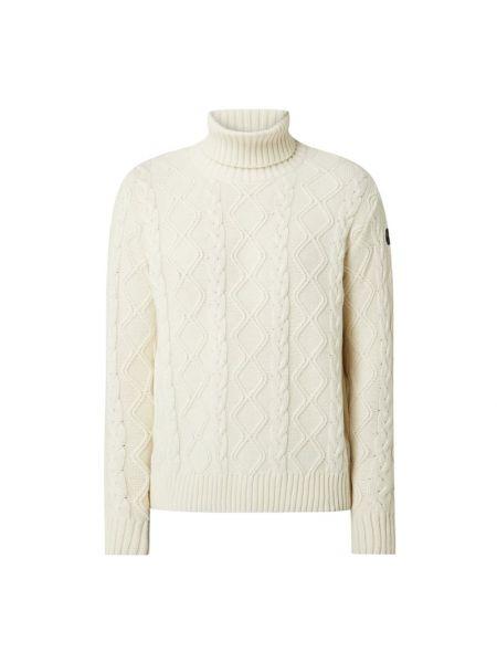 Prążkowany biały sweter wełniany Paul & Shark