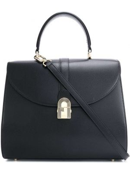Черная сумка-тоут круглая на молнии с карманами Furla