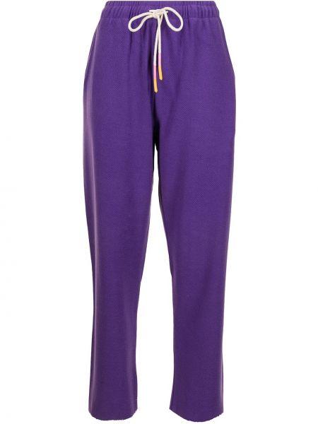 Фиолетовые хлопковые прямые спортивные брюки Mira Mikati