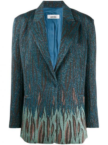 Синий удлиненный пиджак оверсайз с карманами Circus Hotel