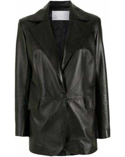 Черный кожаный классический пиджак на пуговицах Nk