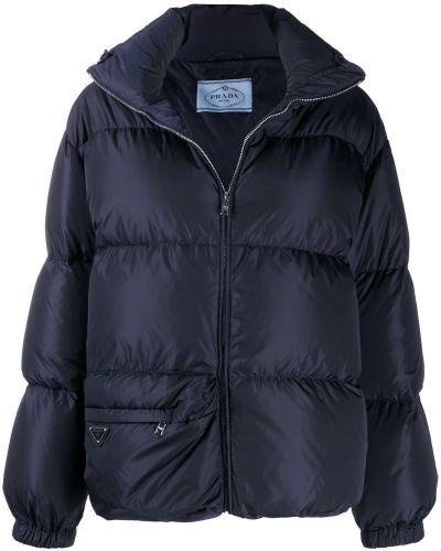 Длинная куртка с карманами синий Prada