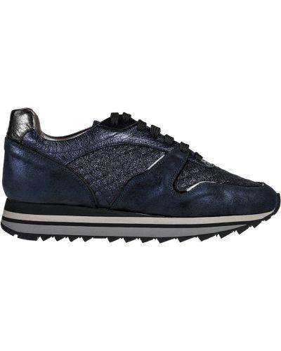 Кроссовки на платформе замшевые синий Pertini