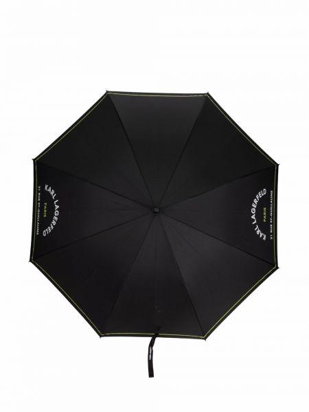 Czarny parasol srebrny z printem Karl Lagerfeld