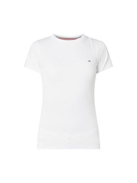 Biały bawełna bawełna koszula jeansowa okrągły Tommy Jeans