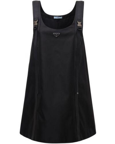 Платье на бретелях - черное Prada