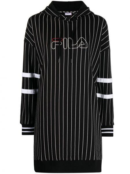 Черное платье макси в полоску с вышивкой Fila