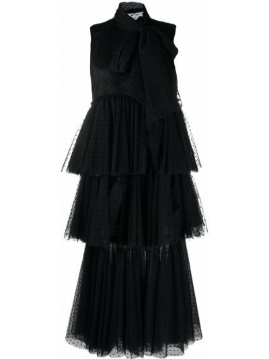 Черное платье миди с оборками без рукавов с завязками Viktor & Rolf