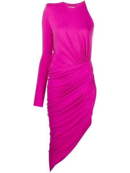 Różowa sukienka midi asymetryczna z wiskozy Alexandre Vauthier