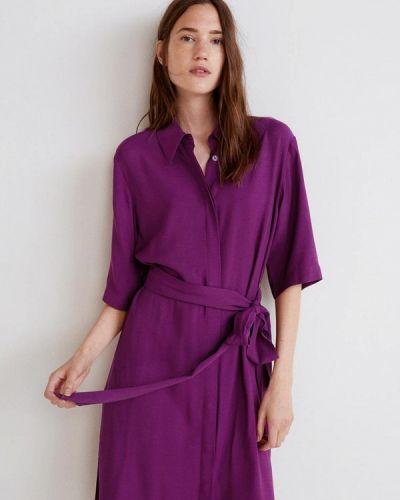 Фиолетовое платье рубашка Mango
