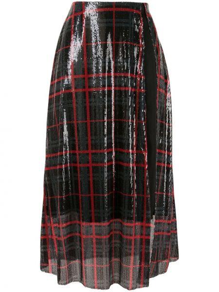 С завышенной талией юбка миди с пайетками с разрезом в рубчик Yang Li