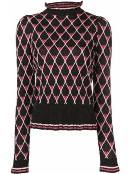Черный акриловый вязаный свитер Elisabetta Franchi