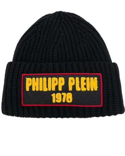 Шерстяная черная шапка бини с заплатками Philipp Plein