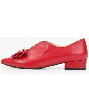 Туфли на каблуке кожаные красные Hestrend