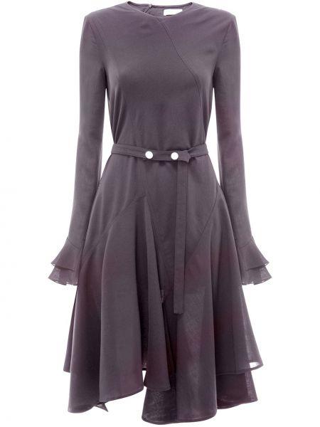 Платье с поясом годе черное Jw Anderson