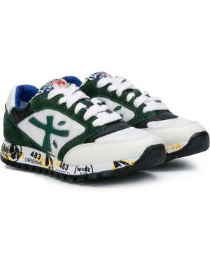 Зеленые кеды с заплатками на шнурках круглые Premiata Kids