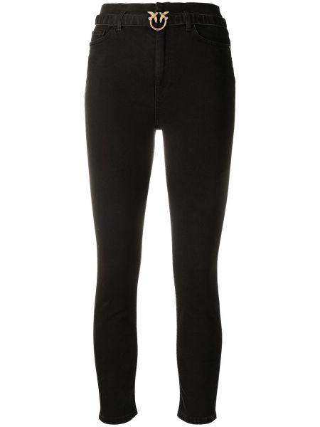Черные джинсы-скинни с высокой посадкой с поясом Pinko