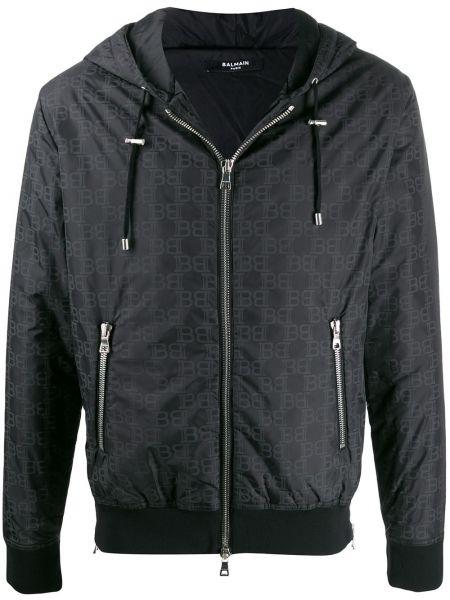 Długa kurtka z kapturem czarna Balmain