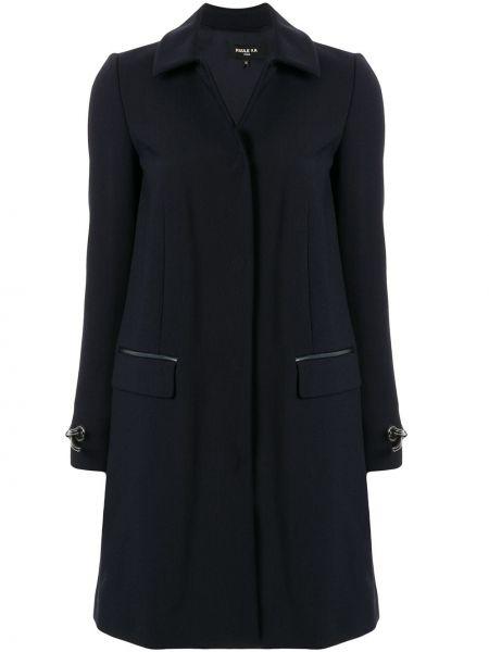 Синее шерстяное длинное пальто с капюшоном Paule Ka