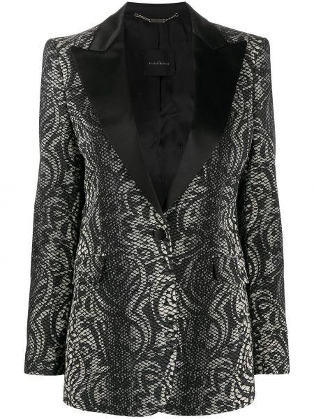С рукавами черный удлиненный пиджак с карманами John Richmond