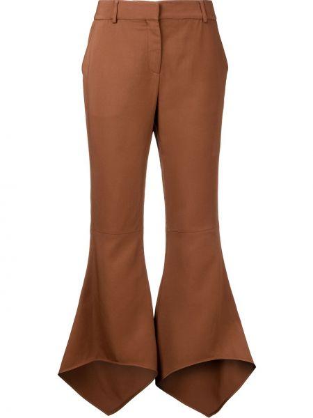 Коричневые расклешенные укороченные брюки с поясом из вискозы Sies Marjan