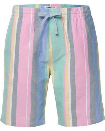 Różowe bermudy jeansowe bawełniane w paski Tommy Jeans
