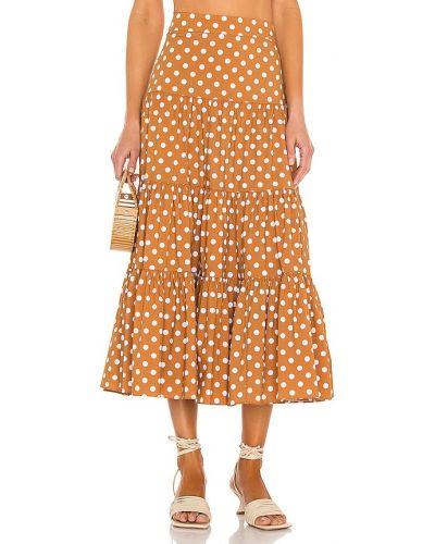 Хлопковая желтая юбка на молнии Caroline Constas