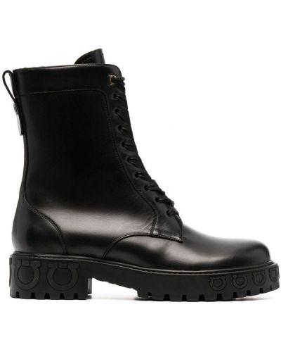 Кожаные ботинки - черные Salvatore Ferragamo