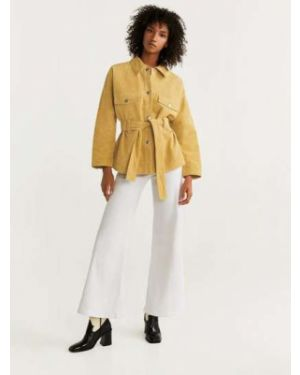 Кожаная куртка классическая с карманами Mango
