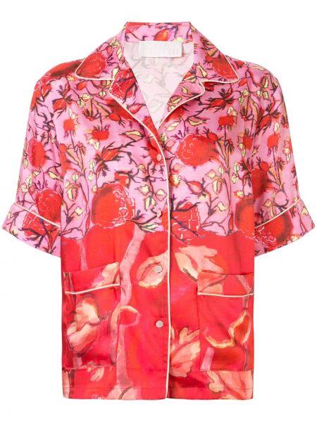 Różowa koszula z printem w kwiaty Peter Pilotto