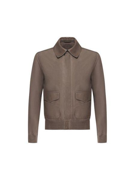 Серая кожаная кожаная куртка на молнии с карманами Ralph Lauren