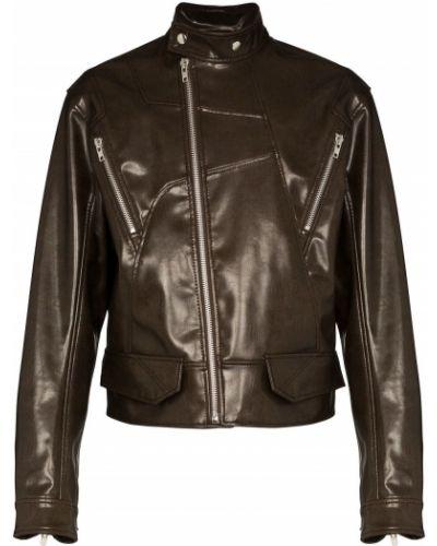 Коричневая кожаная куртка на молнии с карманами с воротником Gmbh