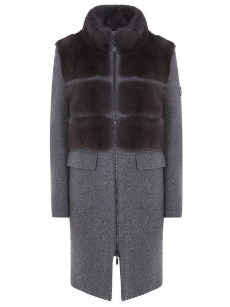 Серое пальто с воротником на молнии со вставками Moncler Gamme Rouge