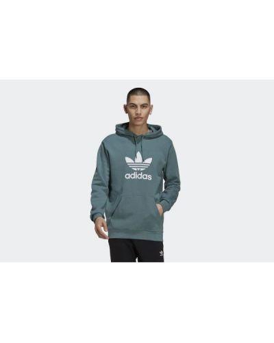 Zielona bluza z kapturem bawełniana Adidas